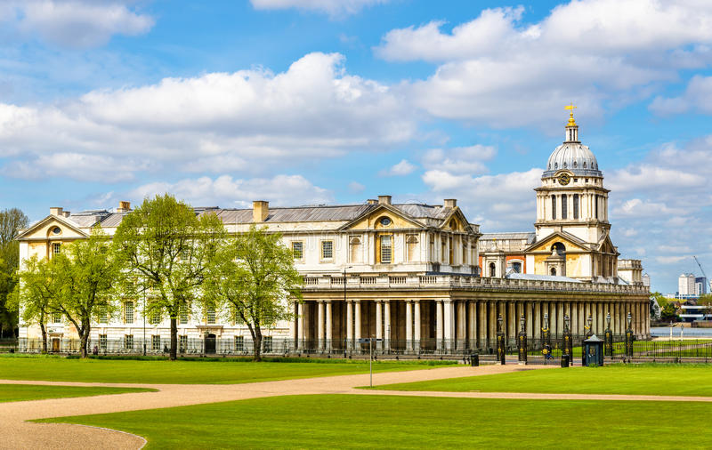 View of the National Maritime Museum in Greenwich stock image