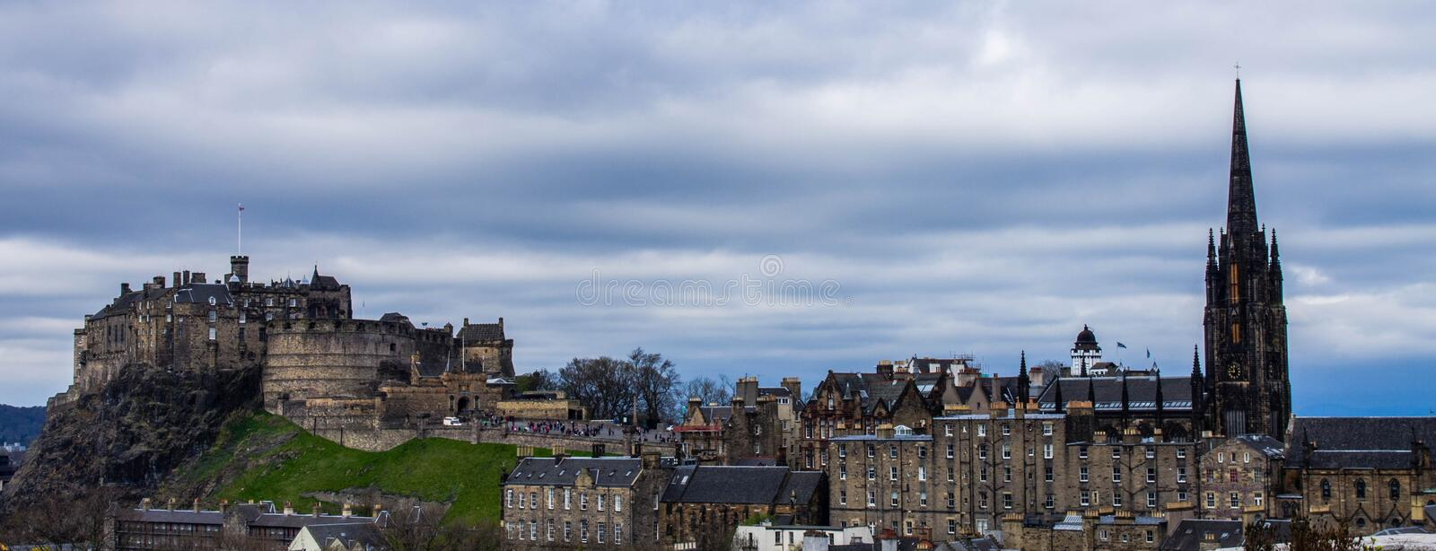A view from the National Museum of Scotland - edinburgh. Edinburgh castle and the royal mile seen from National Museum of Scotland royalty free stock photography