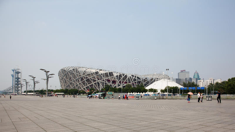 View of the National stadium and the Beijing Olympic Park. Beijing, China - Jun 20, 2016 : View of the National stadium and the Beijing Olympic Park during day royalty free stock photos