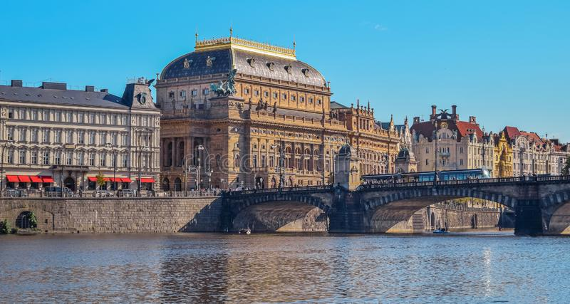 View of the National Theater in Prague stock photos