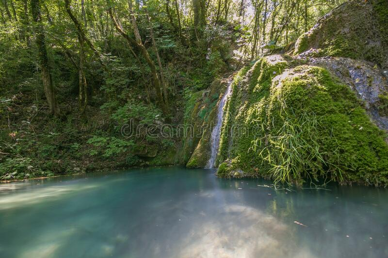 View of natural pool in the wild forest near Castel di Fiori, Terni, Umbria, Italy royalty free stock images