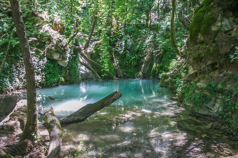 View of natural pool in the wild forest near Castel di Fiori village in Umbria, Italy royalty free stock photos