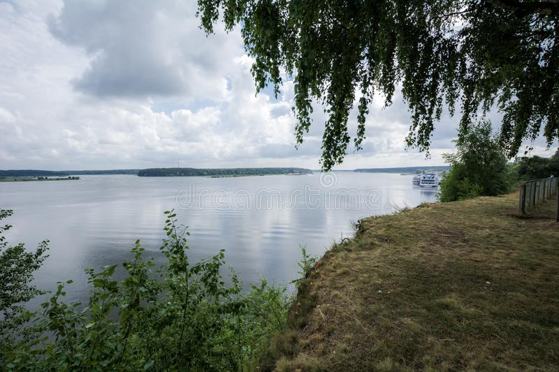 View of nature near the old Russian city on the Volga River. Myshkin, Russia royalty free stock photo