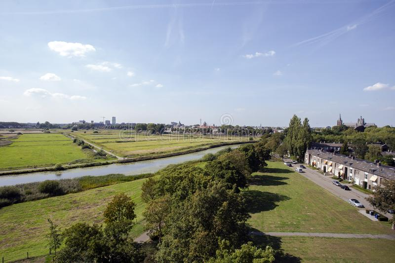 View of nature reserve `Bossche Broek` close to the city center of Den Bosch. Green nature landscape royalty free stock photography
