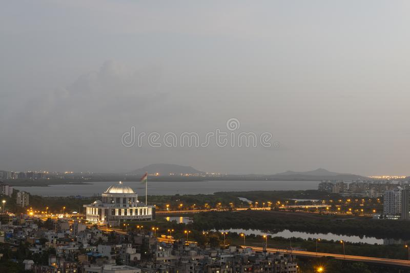 View of Navi mumbai city from Parsik Hill,Belapur,Navi Mumbai,Maharashtra,India royalty-vrije stock foto