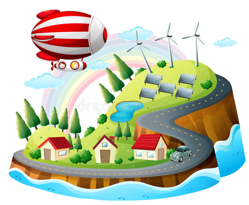 Download A View Of The Neighborhood With An Airship Stock Vector - Image: 31676236
