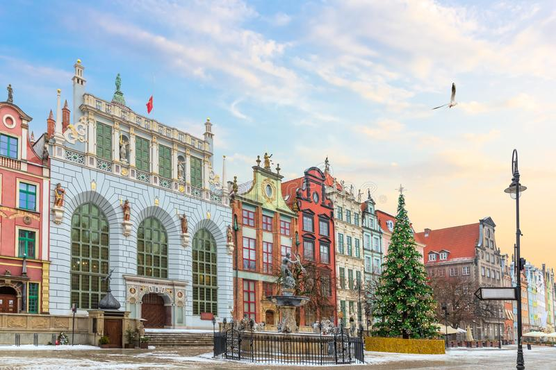 View on the Neptune`s Fountain and the the Artus Court facade in Long Market, Gdansk, Poland, no people stock photography