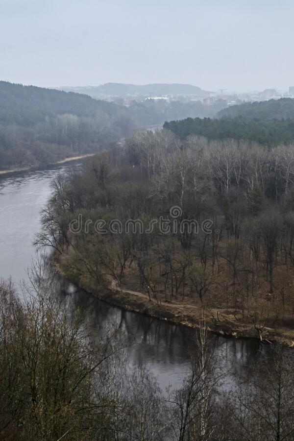 View of the Neris River from above. Karoliniskes Landscape Reserve in Vilnius, Lithuania stock images