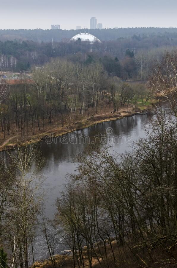 View of the Neris River from above. Karoliniskes Landscape Reserve in Vilnius, Lithuania stock photography