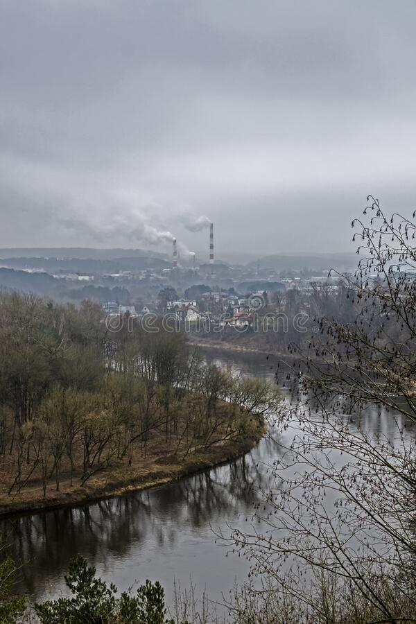 View of the Neris River from above. Karoliniskes Landscape Reserve in Vilnius, Lithuania stock image