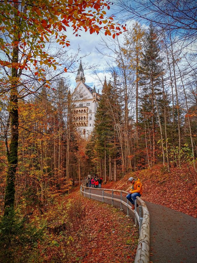 Autumn View of Neuschwanstein Castle royalty free stock photography