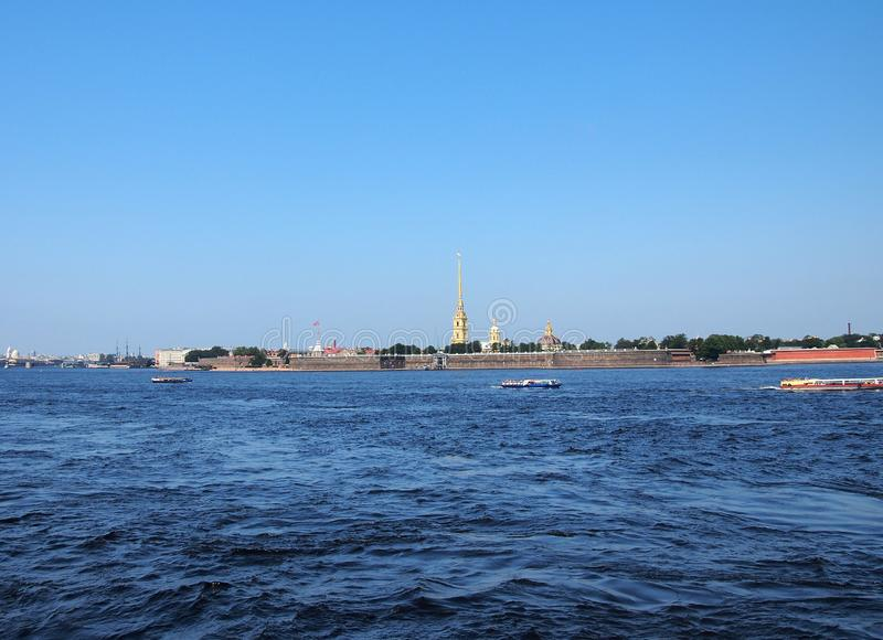 View of the Neva and Peter and Paul fortress in St. Petersburg. Russia stock images