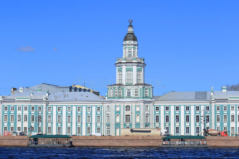View from the Neva river to the Museum of anthropology and Ethnography Russian Academy of Sciences Saint-Petersburg royalty free stock image