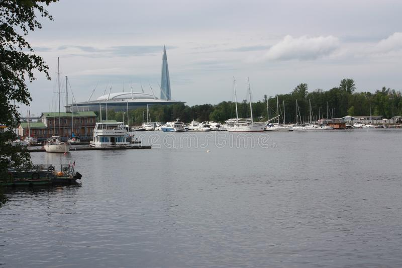 View of the Neva river and yacht club in  Petersburg stock photo
