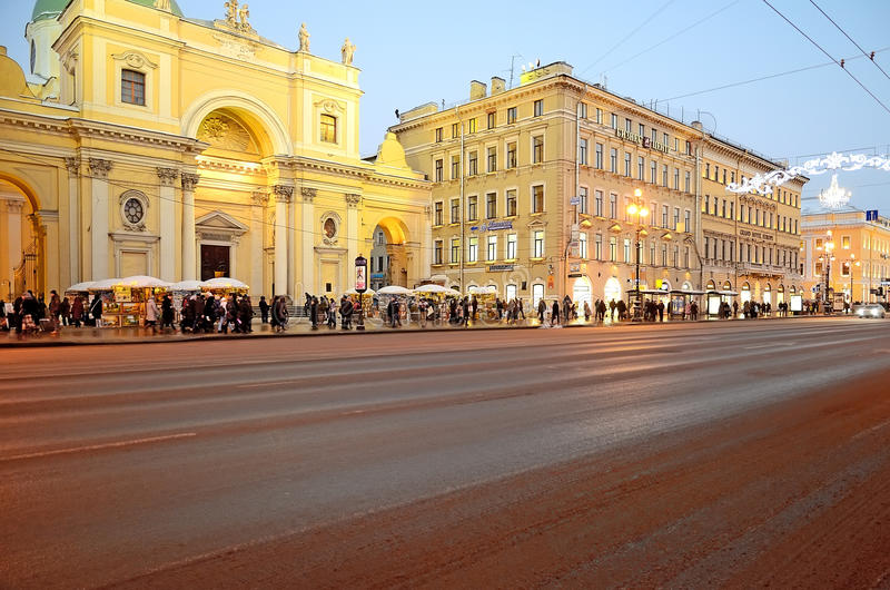 View of the Nevsky Prospect in evening illumination