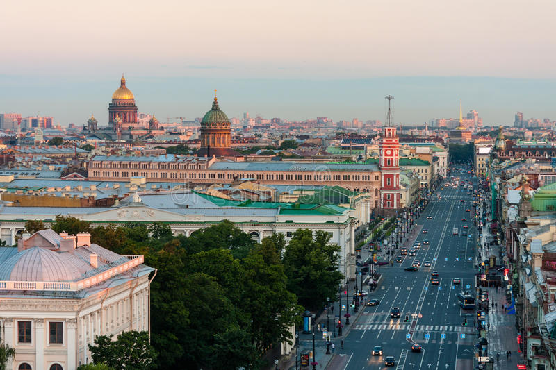 View of the Nevsky Prospekt morning without cars in St. Petersburg. On the horizon St. Isaac's Cathedral and Kazan Cathedral. View of the Nevsky Prospekt morning royalty free stock photography