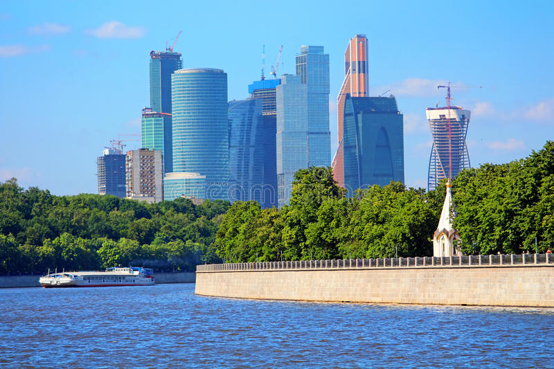 View on new Moscow City buildings stock image