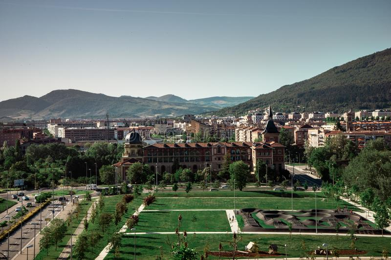View of the new part of the city of Pamplona in Spain royalty free stock photos