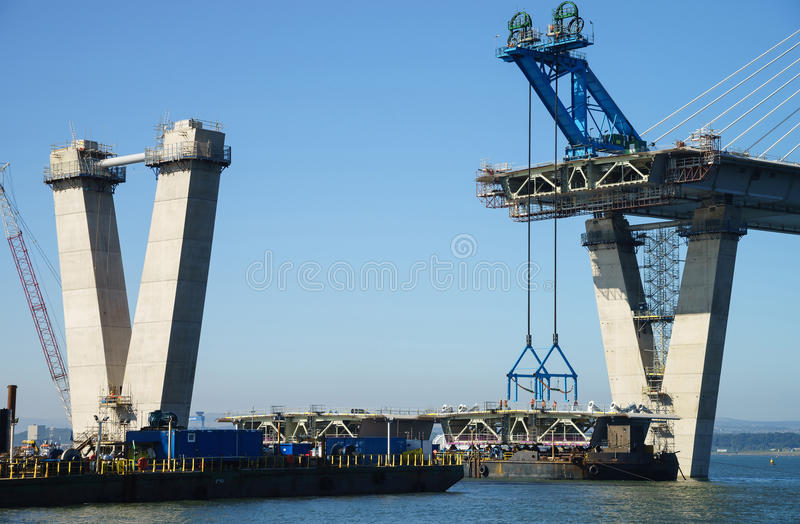 A view of the new Queensferry Crossing Bridge under construction, seen from Port Edgar Edinburgh, Scotland. The new Queensferry Crossing Bridge under royalty free stock images