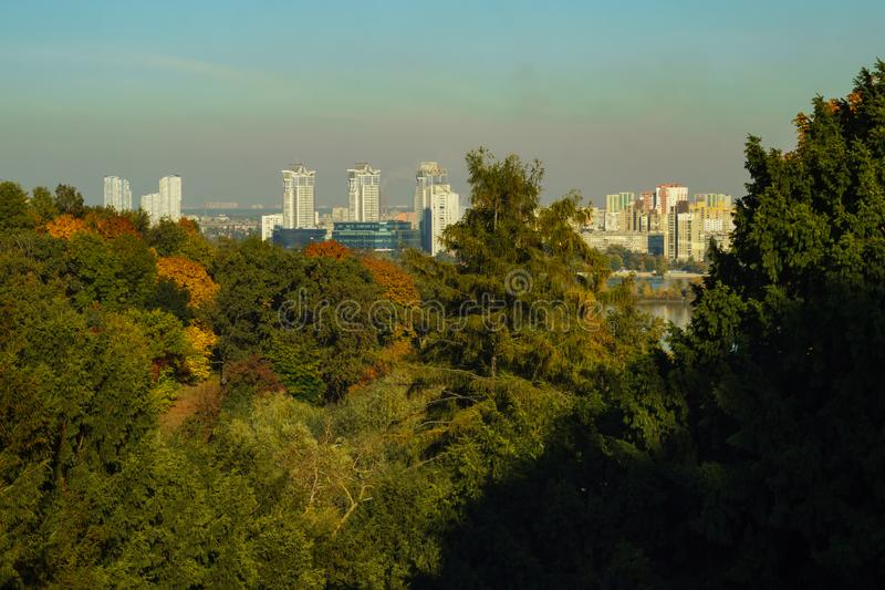 View of new residential areas from Botanical Garden in autumn, Kiev, the capital of Ukraine. View of new residential areas from the Botanical Garden in autumn royalty free stock image