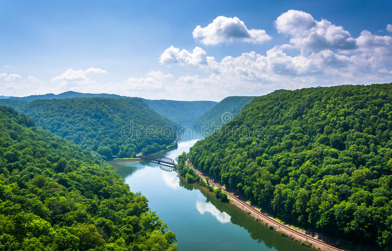 View of the New River from Hawk's Nest State Park, West Virginia.  stock photo