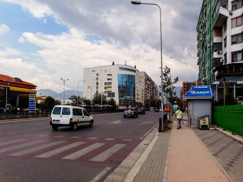 New Tirana Neighborhood, Tirane, Albania 2018. The view of New Tirana Neighborhood, the apartment building with arrows and the genius apartment building, Tirana royalty free stock images