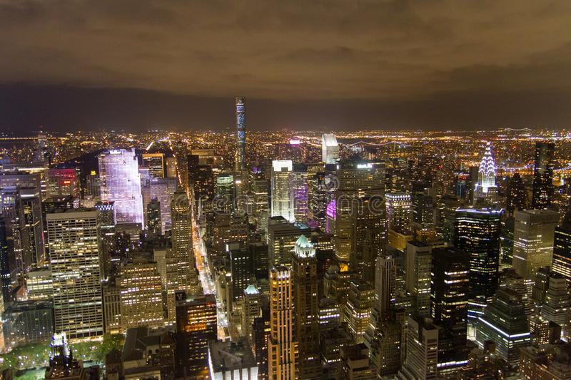 View of New York city at night time royalty free stock photography
