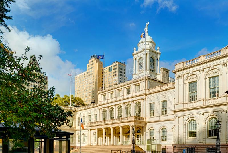 View on New York city NYC City Hall building and city park from Wall street and Nassau street, Brooklyn Bridge side. Old antique A stock photo