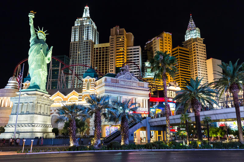 Download View Of New York-New York Hotel And Casino At Night Editorial  Photography -