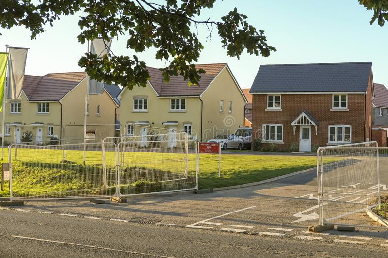 Wonderful new houses. View of newly built houses and affordable homes on a new housing estate royalty free stock images