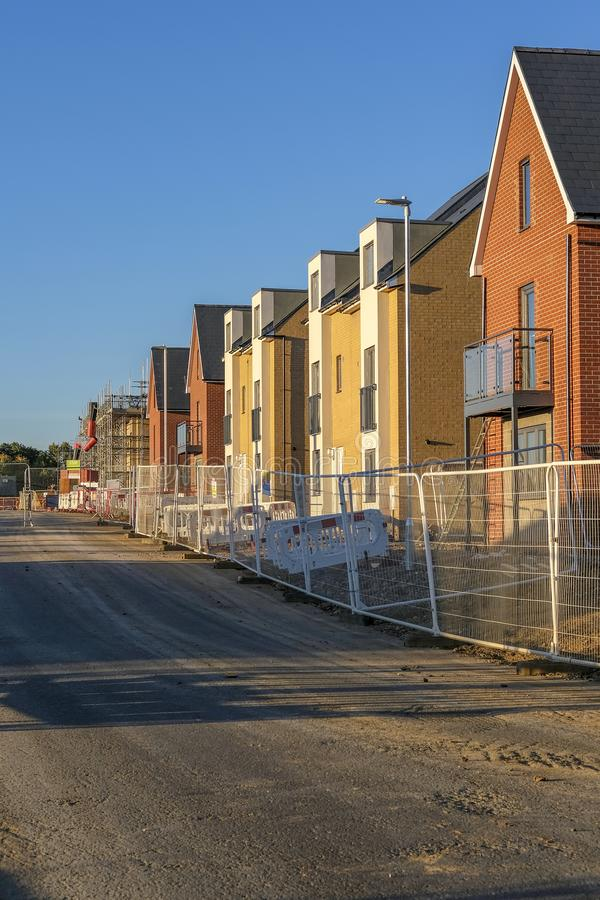 Wonderful new houses. View of newly built houses and affordable homes on a new housing estate stock images