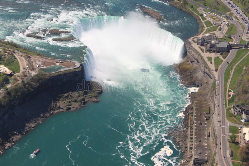 A view of Niagara falls from the air royalty free stock image