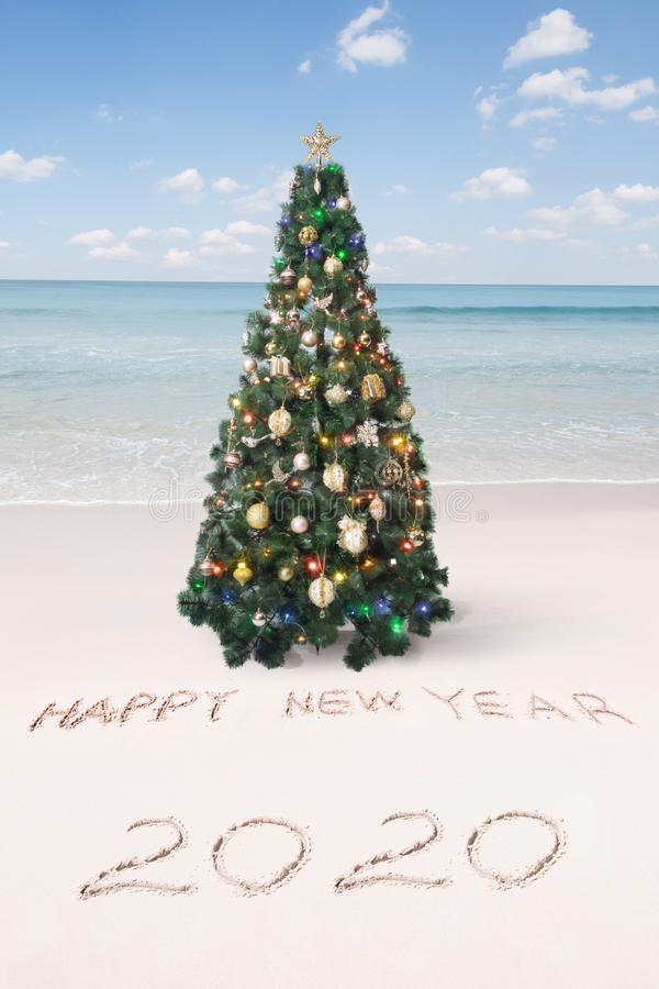 Christmas and  new year theme  tropical beach stock images