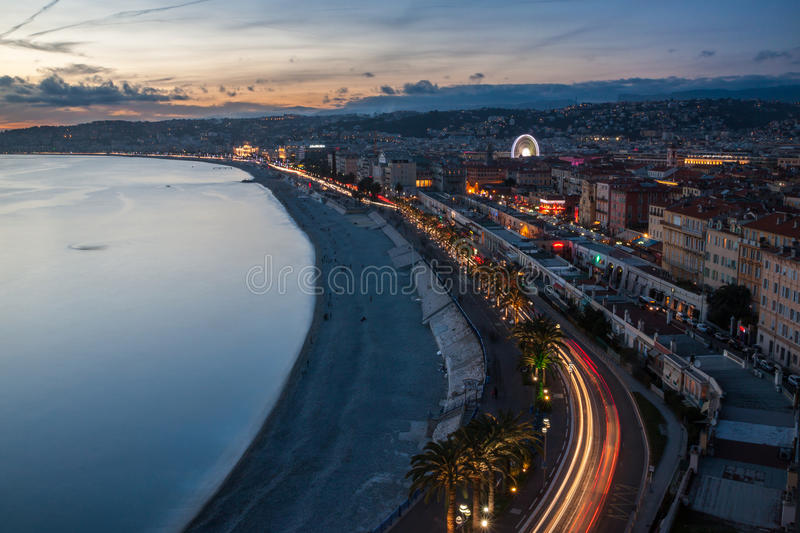 View of Nice in the French Riviera, France. View of Nice in the French Riviera during dusk in Christmas period, France stock images