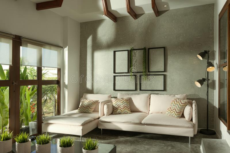View of nice light living room. royalty free stock photos