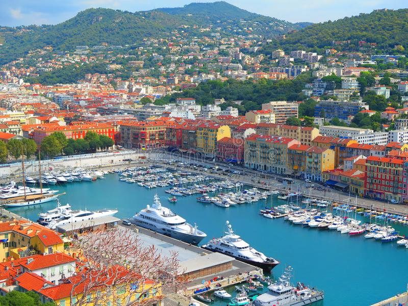 View of Nice, mediterranean resort, Cote d`Azur, France. Panoramic view of Nice, France. France riviera landscape, Nice royalty free stock image