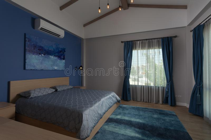 view of nice white stylish modern bedroom royalty free stock photography