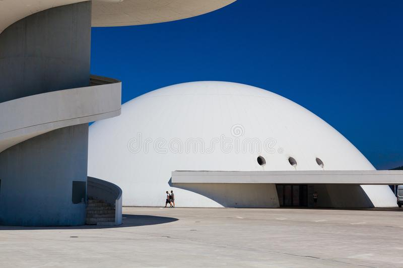 View of Niemeyer Center building in Aviles, Spain. Aviles, Spain - July 4,2017: View of Niemeyer Center building in Aviles. The cultural center was designed by royalty free stock image