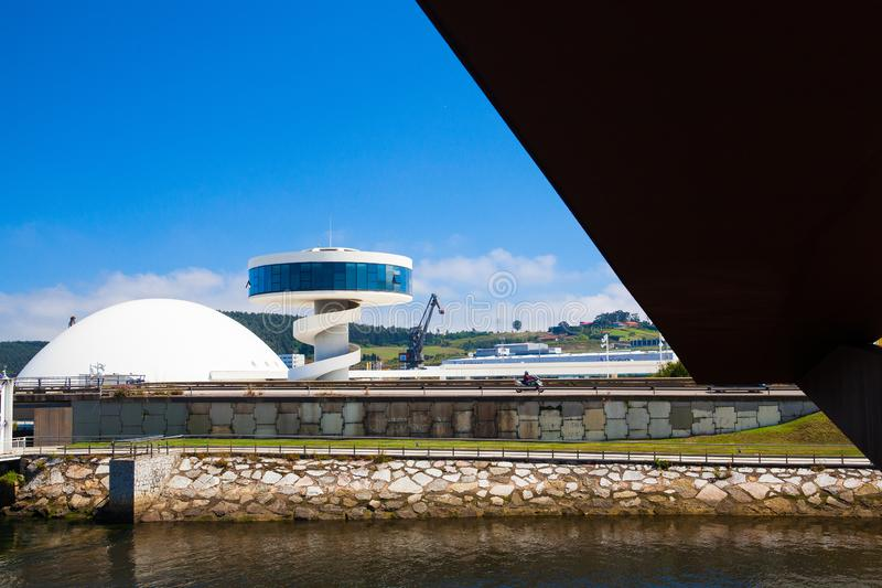View of Niemeyer Center building in Aviles, Spain. Aviles, Spain - July 4,2017: View of Niemeyer Center building in Aviles. The cultural center was designed by stock photo
