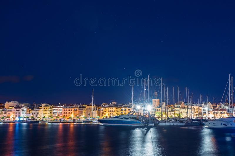 View of the night embankment of the city of Cambrils, Catalunya, Spain. Copy space for text. stock images