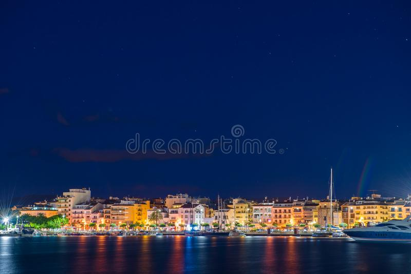 View of the night embankment of the city of Cambrils, Catalunya, Spain. Copy space for text. stock image