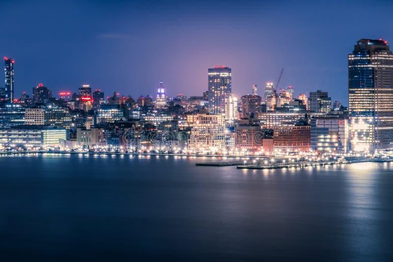 View on night Manhattan, New York stock photography