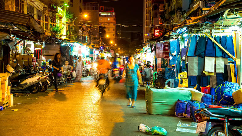 View at the night market in the Ho Chi Minh City stock photos