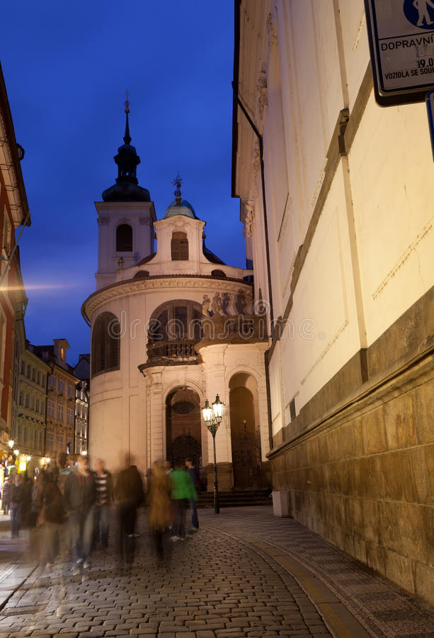 Download View Of The Night Street In Prague Royalty Free Stock Image - Image: 26103796