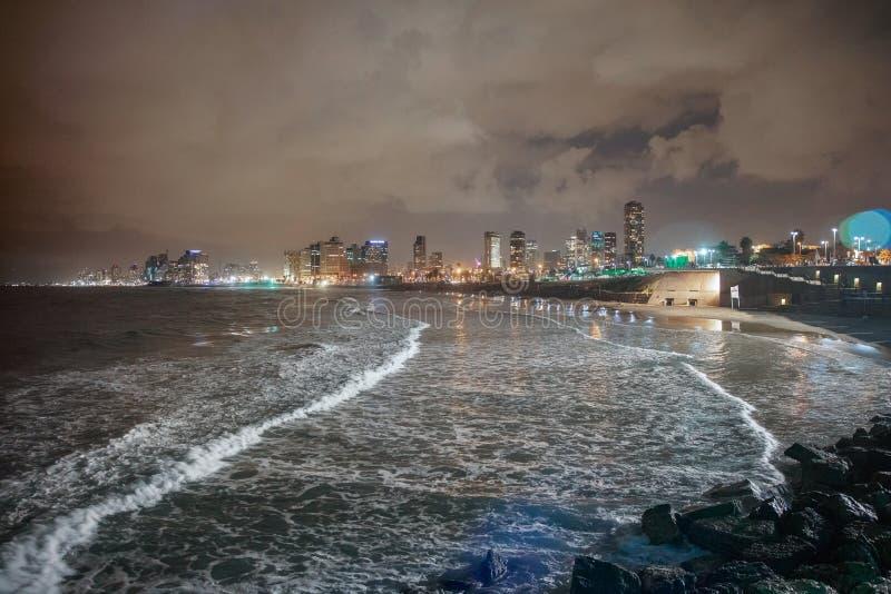 View of the night Tel Aviv royalty free stock image