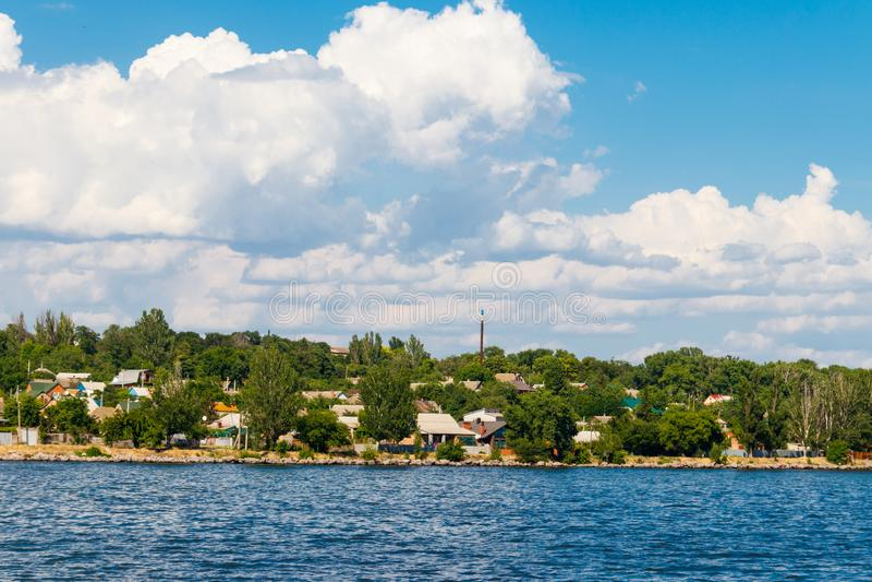 View of Nikopol town from Kakhovka reservoir, Ukraine stock photography