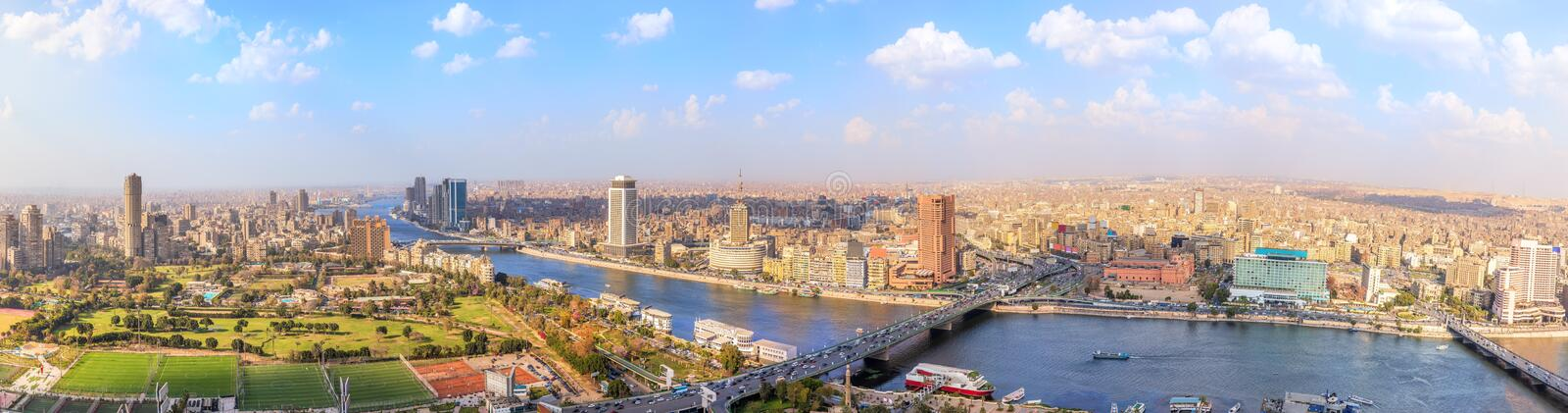 View on the Nile in Cairo, panorama from above, Egypt royalty free stock images