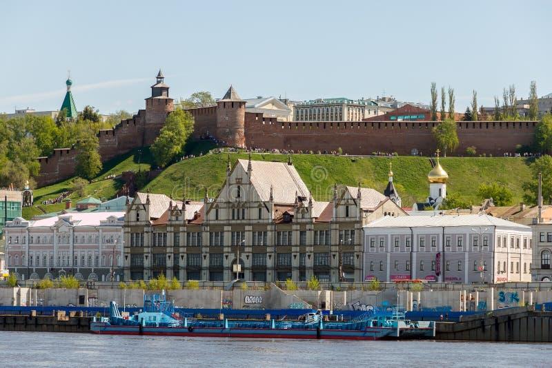 View of the Nizhny Novgorod Kremlin and Nizhne-Volzhskaya Embankment from the Volga River royalty free stock images