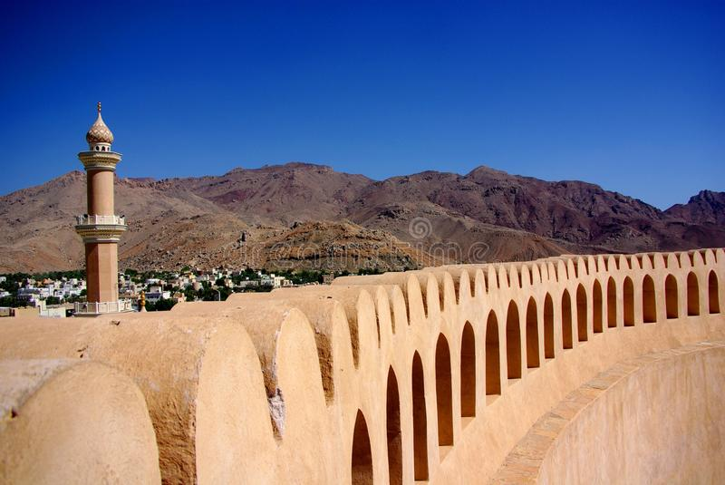 View from Nizwa Fort, Oman. The spectacular view from Nizwa Fort in Oman royalty free stock photography