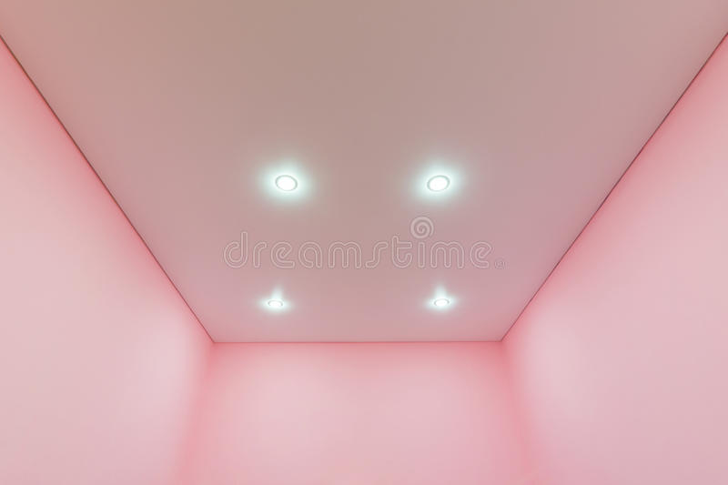 View nnovy tension mat ceiling in room royalty free stock images